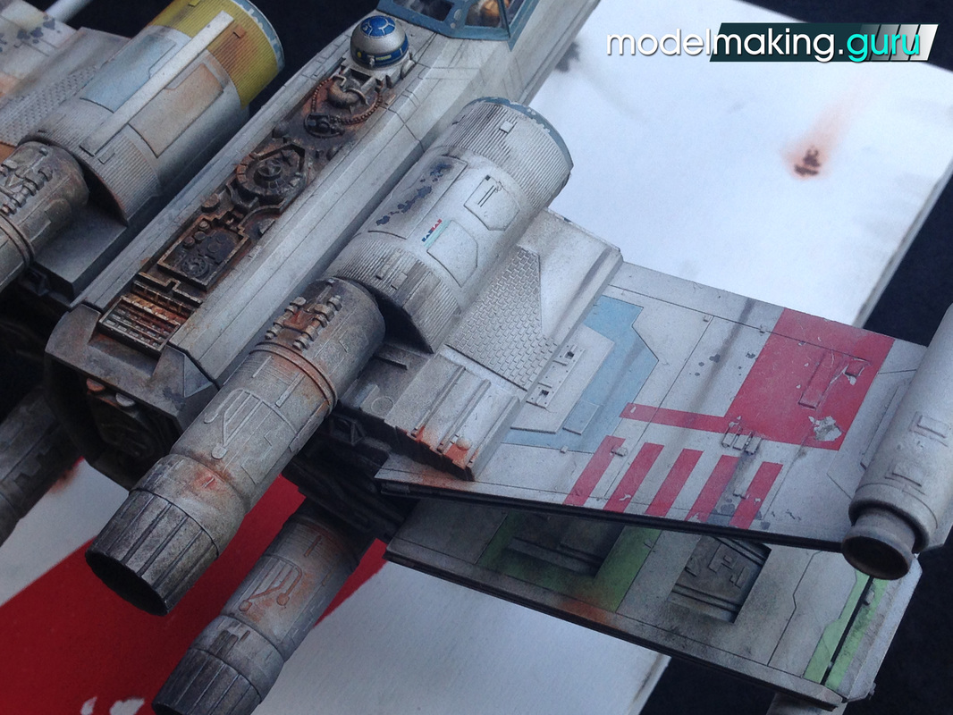 Fine Molds 1/48 T-65 X-Wing Starfighter, painting, weathering, scale model, Modelmaking Guru,