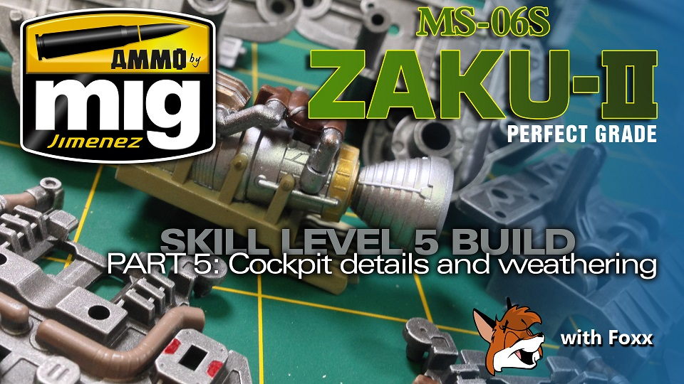 Modelmaking Guru, Bandai, Perfect Grade Zaku II, Ammo by Mig Jimenez, video build series, YouTube